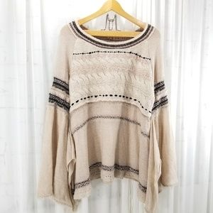 Free People Sweater Poncho Sleeve Craft Time Sz S